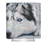 Siberian Husky Up Close Shower Curtain by Lee Ann Shepard