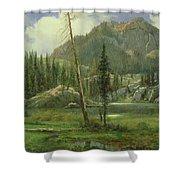 Sierra Nevada Mountains Shower Curtain by Albert Bierstadt