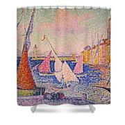 Signac: St. Tropez Harbor Shower Curtain by Granger