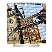 Signpost In London Shower Curtain by Elena Elisseeva
