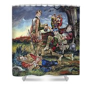Sir Philip Sidney At The Battle Of Zutphen Shower Curtain by Ron Embleton