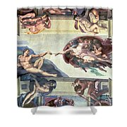 Sistine Chapel Ceiling Creation of Adam Shower Curtain by Michelangelo