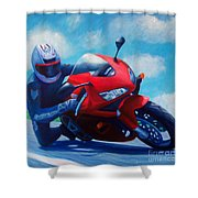 Sky Pilot - Honda CBR600 Shower Curtain by Brian  Commerford