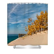 Sleeping Bear Overlook Shower Curtain by Larry Carr