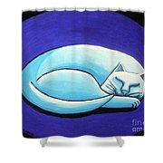 Sleeping Cat Shower Curtain by Genevieve Esson