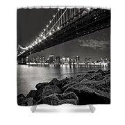 Sleepless Nights And City Lights Shower Curtain by Evelina Kremsdorf