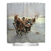 Sleighs In A Winter Landscape Shower Curtain by Janina Konarsky
