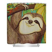 Sloth And Frog Shower Curtain by Nick Gustafson