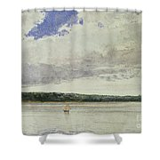 Small Sloop On Saco Bay Shower Curtain by Winslow Homer