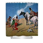 Smoke Signals Shower Curtain by Frederic Remington