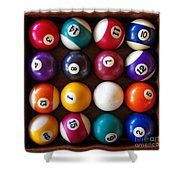 Snooker Balls Shower Curtain by Carlos Caetano
