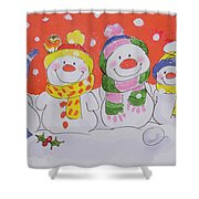 Snow Family Shower Curtain by Diane Matthes