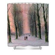 Snow Scene Wanstead Park   Shower Curtain by Nils Hans Christiansen