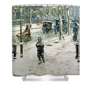 Snow Storm on Fifth Avenue Shower Curtain by Childe Hassam