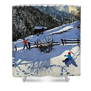 Snowballers Shower Curtain by Andrew Macara