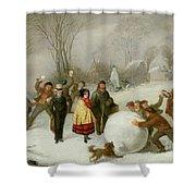 Snowballing   Shower Curtain by Cornelis Kimmel