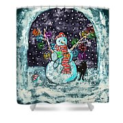 Snowman And Cat Shower Curtain by Catherine Martha Holmes