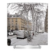 Snowy Day in Paris Shower Curtain by Louise Heusinkveld