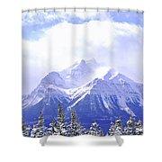Snowy mountain Shower Curtain by Elena Elisseeva