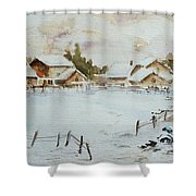 Snowy Village Shower Curtain by Xueling Zou