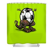 Soccer Saurus Rex Shower Curtain by Kevin Middleton