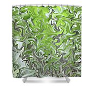 Soft Green And Gray Abstract Shower Curtain by Carol Groenen