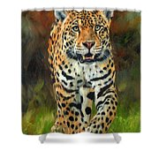 South American Jaguar Shower Curtain by David Stribbling