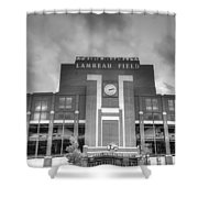 South End Zone Lambeau Field Shower Curtain by James Darmawan