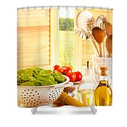 Spaghetti And Tomatoes In Country Kitchen Shower Curtain by Amanda Elwell