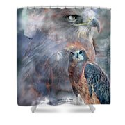 Spirit Of The Hawk Shower Curtain by Carol Cavalaris