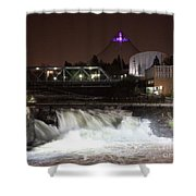 Spokane Falls Night Scene Shower Curtain by Carol Groenen