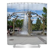 Spokane Fountain Shower Curtain by Carol Groenen