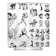 Sports Figures Collage Shower Curtain by Murphy Elliott