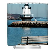 Spring Point Ledge Lighthouse Shower Curtain by Greg Fortier