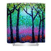 Spring Woodland Shower Curtain by John  Nolan