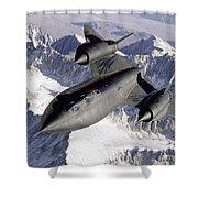 Sr-71b Blackbird In Flight Shower Curtain by Stocktrek Images