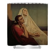 St Augustine And His Mother St Monica Shower Curtain by Ary Scheffer
