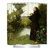 St. Francis Shower Curtain by Albert Chevallier Tayler