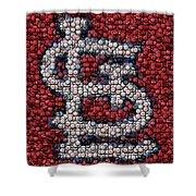 St. Louis Cardinals Bottle Cap Mosaic Shower Curtain by Paul Van Scott