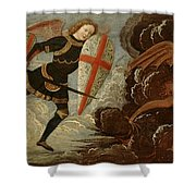 St. Michael And The Angels At War With The Devil Shower Curtain by Domenico Ghirlandaio
