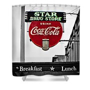 Star Drug Store Shower Curtain by Scott Pellegrin