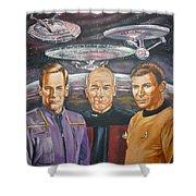 Star trek tribute Enterprise Captains Shower Curtain by Bryan Bustard