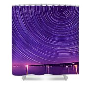 Starry Night Of Cayuga Lake Shower Curtain by Paul Ge