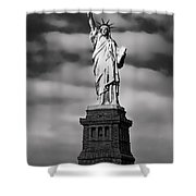 Statue Of Liberty At Dusk Shower Curtain by Daniel Hagerman