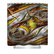 Steampunk - Spiral - Space Time Continuum Shower Curtain by Mike Savad