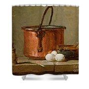 Still Life Shower Curtain by Jean-Baptiste Simeon Chardin