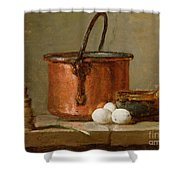 Still Life Shower Curtain by Jean-Baptiste Simeon Chardin