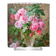 Still Life Of Roses In A Glass Vase  Shower Curtain by Frans Mortelmans