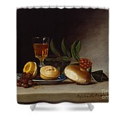 Still Life With A Wine Glass Shower Curtain by Raphaelle Peale