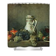 Still Life with Grapes and Pomegranates Shower Curtain by Jean-Baptiste Simeon Chardin